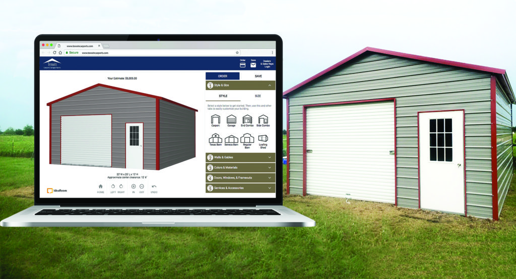 Image of a Texwin custom building along with the IdeaRoom product configurator for that building.